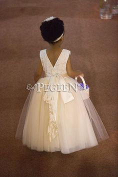 Lace Covered Tulle and Silk Couture Flower Girl Dresses - Style 402 White Flower Girl Dresses, Wedding Flower Girl Dresses, Lace Flower Girls, White Wedding Flowers, Girls Dresses, White Weddings, Cotillion Dresses, Communion Dresses, Custom Dresses