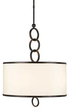 Brownlow Pendant Light   Currey & Company   PRODUCT NAME: Brownlow Pendant, Large DIMENSIONS: 72h x 24w NUMBER OF LIGHTS: 4 SHADES: Beige Shantung w/Brass Trim MATERIAL: Wrought Iron FINISH: Bronze Gold WATTAGE PER LIGHT: 60 TOTAL WATTAGE: 240 BULB TYPE: Candelabra CHAIN LENGTH: NA