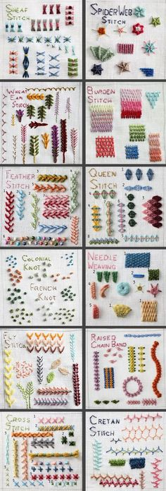different kinds of hand embroidery stitches - Sticken - Embroidery Stitches Tutorial, Embroidery Patterns Free, Embroidery Techniques, Knitting Stitches, Machine Embroidery Designs, Sewing Patterns, Sewing Ideas, Types Of Embroidery Stitches, Brazilian Embroidery Stitches