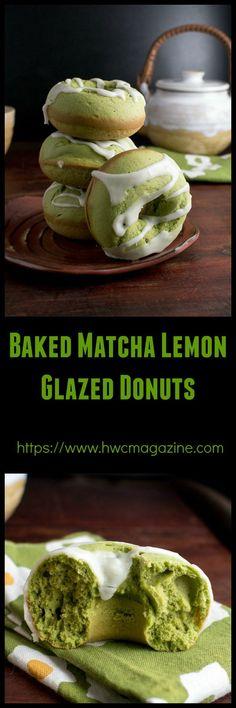 Baked Matcha Lemon Glazed Donuts / https//www.hwcmagazine.com