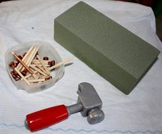 """crayonfreckles: preschool """"woodworking"""" activity: golf tees and foam block"""