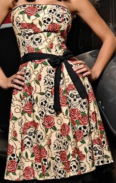 Amazon.com: Folter Clothing STRAPLESS FOREVER YOURS DRESS in Skull Rose Tattoo Flash Print: Clothing