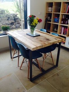 Reclaimed Industrial Chic 4-6 Seater Solid Wood and Metal Dining Table.Bar and…