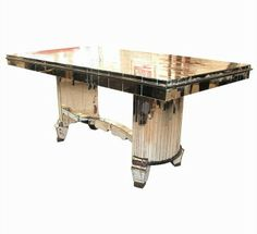 french mirrored dining table