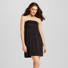 Women's Terry Smocked Strapless Cover Up Dress Black XS - Cover 2 Cover