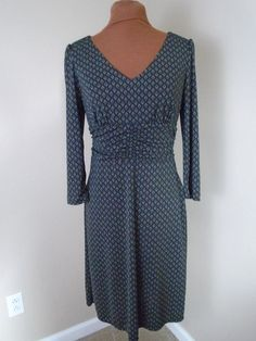 Ann Taylor Loft 4 Dark Brown Green Geometric Ruched Empire Waist V Neck Dress LN #AnnTaylorLOFT #EmpireWaist #WeartoWork