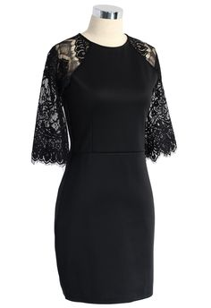 Lace Panel Shift Dress in Black
