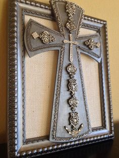 Upcycled jewelry wooden collage cross wall hanging #vintagevibe