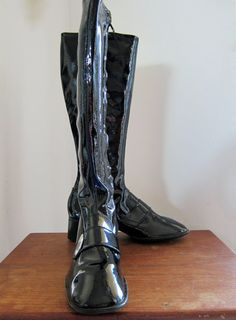 Vintage Black Crinkle Patent Vinyl Go Go Boots by WhatWeCollect, $85.00