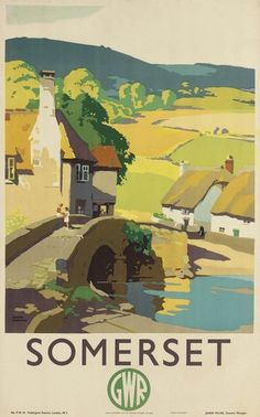 holiday poster Original Vintage Great Western Railway Travel Poster Advertising Somerset By GWR Posters Uk, Train Posters, Railway Posters, Art Deco Posters, Illustrations Vintage, Illustrations And Posters, Tourism Poster, Great Western, Vintage Travel Posters