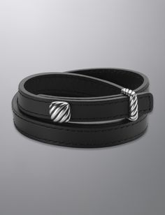 David Yurman Thoroughbred Wrap Bracelet, Black Leather