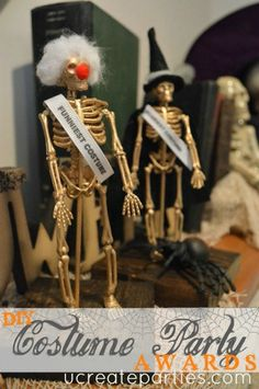 Awesome Halloween Costume Party Awards...pack of skeletons from the dollar store!