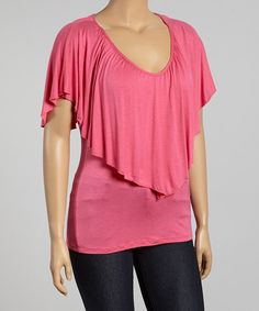 Look at this #zulilyfind! Hot Pink Soft V-Neck Cape-Sleeve Top - Plus by Poliana Plus #zulilyfinds