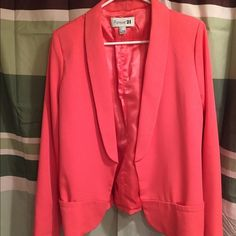 F21 Coral Blazer Traditional coral blazer, gently used. Looks great with denim. Dress is up or down! Forever 21 Jackets & Coats Blazers