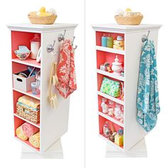 Put this rotating tower to work in the bath, where its two sides of shelves can hold a variety of toiletries, cosmetics, and grooming supplies. -- Lowe's Creative Ideas