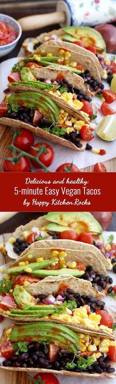 Healthy and delicious 5-minute easy vegan taco recipe. Satisfying, delicious…