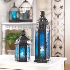 2 PC FLORET BLUE PILLAR CANDLE LANTERN EXOTIC MOROCCAN PILLAR CANDLE HOLDERS