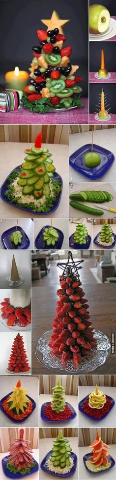 This pic teach you how to make a Christmas fruits tree. It's a surprise to my families if I make it Fruit Decorations, Food Decoration, Christmas Decorations, Christmas Appetizers, Christmas Treats, Christmas Time, Xmas Food, Christmas Cooking, Deco Fruit
