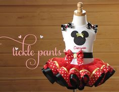 Vintage colors Minnie Mouse Birthday Tutu Collection- Red, yellow, black- Includes top, tutu and hairbow- For birthdays and Disney trips Mickey Mouse Clubhouse Birthday Party, Minnie Mouse Theme, Minnie Birthday, Mickey Party, Birthday Tutu, Girl Birthday, Ribbon Tutu, Kids Birthday Themes, Twins 1st Birthdays