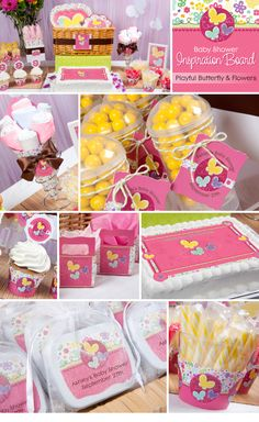 Summer Party Theme Ideas | Pink Butterfly and Flowers.   Baby Shower Decorations and Baby Shower ideas for girls!