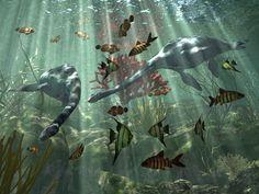 Couple de dinosaures marins folâtrant au milieu des poissons multicolores