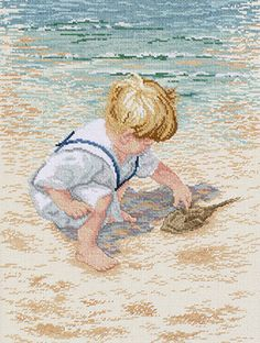 "Counted Cross Stitch - Boy With Horseshoe Crab Counted Cross Stitch Kit - 12""X16"" 14 Count"