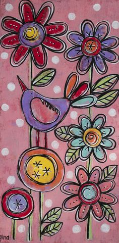 """Commissioned Floral, 2013, 6"""" x 12"""" mixed-media original painting by gina mckinnis - dishy art."""
