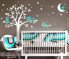 Handmade Nursery Owls and Tree with Moon Stars Wall Decal, Owls Tree Wall Sticker, Personalized Initial Name Wall Decal for Nursery Decor Baby Room Kids Room Decal -- For more information, visit image link.
