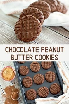 Chocolate Peanut Butter Cookies are the perfect blend of rich chocolate and peanut butter flavors. You will love this delicious twist on the classic peanut butter cookie! Easy Cookie Recipes, Baking Recipes, Sweet Recipes, Easy Peanut Butter Recipes, Peanut Butter Cookie Recipes, Carrot Recipes, Broccoli Recipes, Sausage Recipes, Fruit Recipes