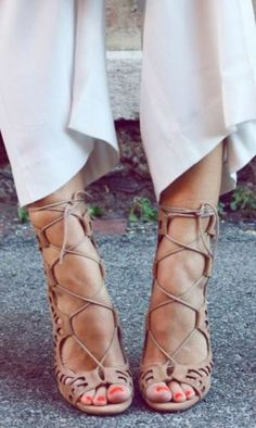 nude lace up heels- How to wear the lace up heels http://www.justtrendygirls.com/how-to-wear-the-lace-up-heels/