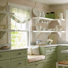 I love sitting in the kitchen talking to whoever is cooking/baking, so nice to have a seat other than countertop Green Kitchen, New Kitchen, Vintage Kitchen, Kitchen Ideas, Kitchen Nook, Kitchen Shelves, Kitchen Walls, Design Kitchen, Kitchen Rustic