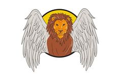 Winged Lion Head Circle Drawing - Illustrations.  Drawing sketch style illustration of a winged lion big cat or the lion of St. Mark head viewed from the front set inside circle.  #illustration #WingedLionHead