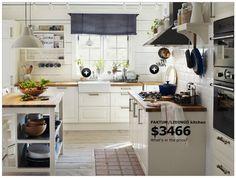 Inspiratie voor witte ikea keuken met naturel blad, diepe spoelbak
