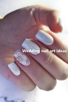 Nail art Christmas - the festive spirit on the nails. Over 70 creative ideas and tutorials - My Nails Lace Wedding Nails, Natural Wedding Nails, Simple Wedding Nails, Wedding Manicure, Wedding Nails Design, Pinterest Nail Ideas, Bride Nails, Elegant Nails, Fall Nail Designs