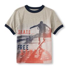 Boys Boys Short Sleeve 'Skate Freestyle' Graphic Tee - Gray T-Shirt - The Children's Place