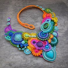 Handmade Statement Necklace, Handmade Necklaces, Handmade Jewelry, Fabric Jewelry, Beaded Jewelry, Shibori, Soutache Necklace, Leather Necklace, Beaded Embroidery