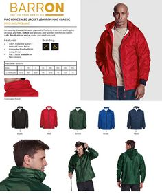 Barron Mac Rain Jacket from the Barron Clothing Range is a great branded jacket for your uniform. We supply jackets in South Africa, Cape Town, Johannesburg