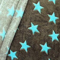 Wellness Fleece bedruckt  Sterne XXL  Farbe Braun-Oliv Blau