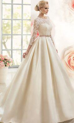 Gorgeous Satin Bateau Neckline Ball Gown Wedding Dresses with Lace Appliques 15d4b5000b84
