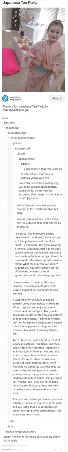 I'm part Japanese and agree that this isn't racist. White Supremacist: Cultures need to be separate in order to maintain out racial purity. Wight-guilt Ridden College Student: That's horrible! Everyone knows that cultures should be separated to maintain the racial purity of other cultures. Other Cultures: Hey, someone likes our stuff! Cool!