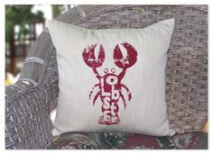 Cottage Lobster Burlap Pillow - way too cute for summer!