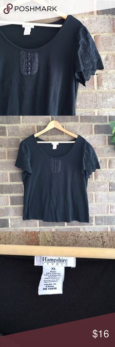 🍓BOGO Hampshire Studio Black Eyelet Tee Made from a cotton/poly blend, this short sleeve top by Hampshire Studio is great for everyday wear. The eyelet detail really makes the piece. In great condition. Approximate measurements lying flat: 22' bust, 24' length 10662 Hampshire Studio Tops Tees - Short Sleeve