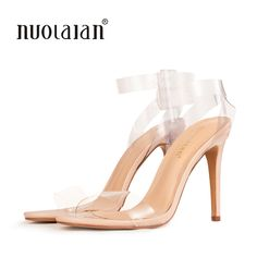 3b2252d4750 2018 Women Sandals Shoes Ankle Strap High Heels PVC Clear Crystal Celebrity  Wearing Buckle Strap sandal