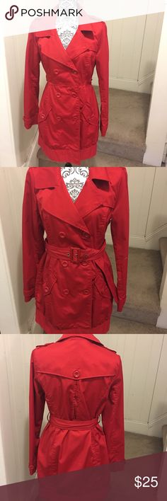 H&M Red Rain Trench Coat NWOT size 12  H&M red trench rain coat, it's light wait and perfect for spring! ☔️ H&M Jackets & Coats Trench Coats
