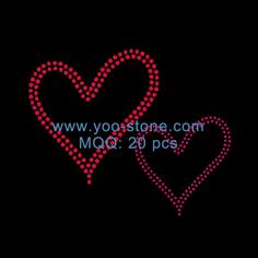 Wholesale New Trend Two Red Heart Rhinestone Motif