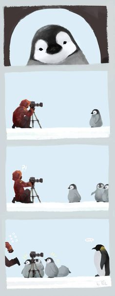 Penguin attack by Mushstone on DeviantArt Cute Animal Drawings, Kawaii Drawings, Cute Drawings, Pinguin Illustration, Cute Illustration, Penguin Pictures, Cute Pictures, Animals And Pets, Baby Animals