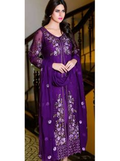 Buy Online Stylish & Designer Purple Georgette Santoon Nazneen Chiffon Salwar Suit Lowest Prices only on GetAbhi.com