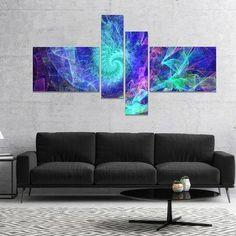 East Urban Home 'Blue Spiral Kaleidoscope' Graphic Art Print Multi-Piece Image on Canvas