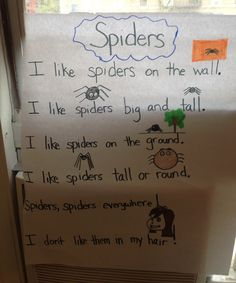 Spiders poem.  Great for sight words I and Like.