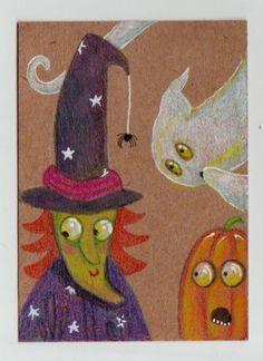 LWick Original ACEO Halloween witch spider jack-o-lantern ghost pumpkin art card